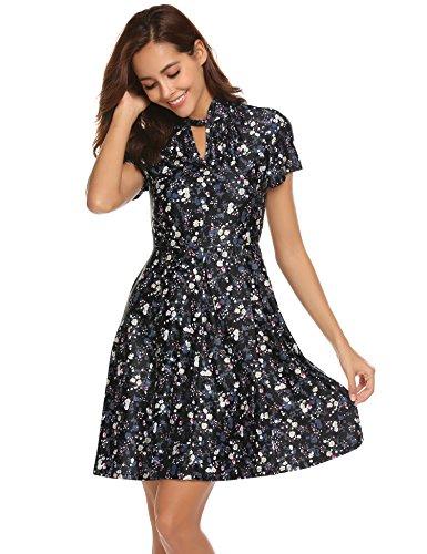 Bricnat Damen Retro Knielang mit Blumen Rockabilly Kleid Partykleid Festliches Kleid chwarz XL Blumen-kleid