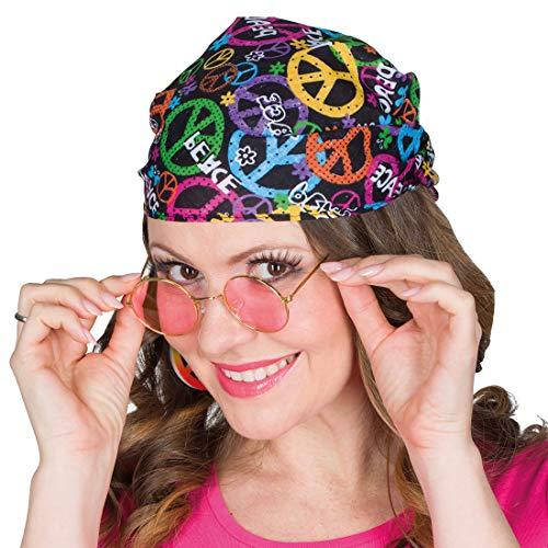NET TOYS Hippie Kopftuch mit Peace-Zeichen | Bunt | Schönes Unisex-Accessoire Flower Power Haartuch | Ideal für 60er-Party & Schlagermove -