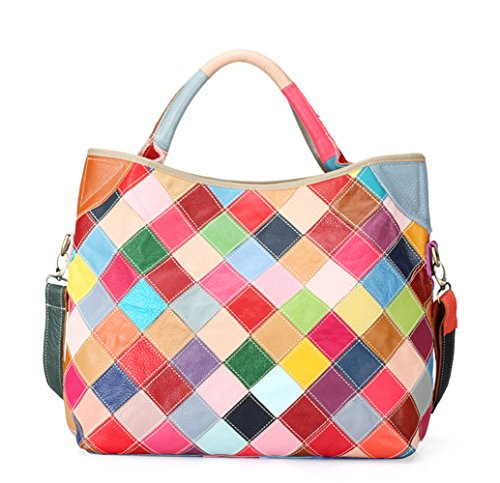 Tibes echtes Leder Handtasche bunten Top Griff Frauen Satchel Geldbörse Farben