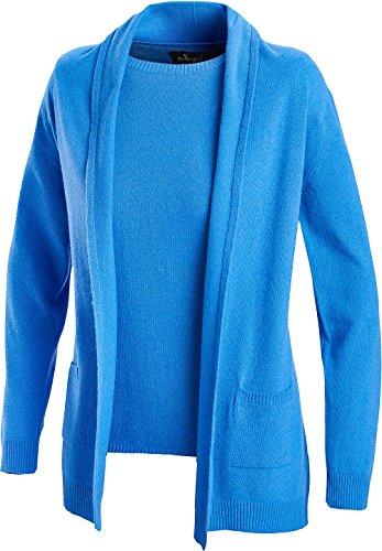 Emilia Parker Kaschmir Twinset, Luxuriöse Kombi aus Kurzarm-Pullover und Cardigan für Damen (Größen: 38-46, Farbe: Blau) (Set Strickjacke Twin Kaschmir-pullover)