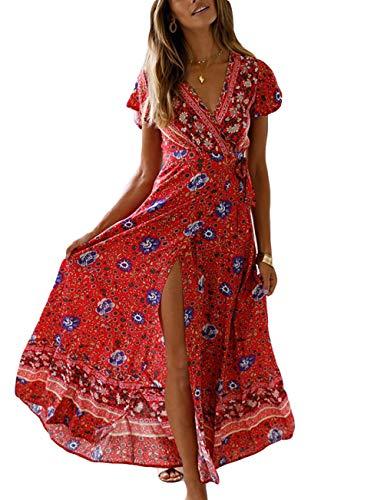 Yieune Robe D'été Bohême Long Col V Robe Plage Décontractée Fleurs Robe de Cocktail Élégante Robe Maxi (Rouge L)