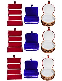 Afrose Combo 3 Pc Red Earring Folder 3 Blue Ear Ring Box And 3 Pc Bangle Box Jewelry Vanity Case