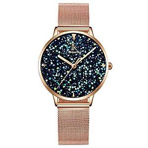 Alienwork IK Damen-Uhr mit Glitzerndem Strass-Steinen Zifferblatt Mesh-Armband