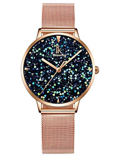 Alienwork Damen-Armbanduhr Quarz Rose-Gold mit Metall Mesh Armband Edelstahl blau Strass-Steinen Glitzer elegant