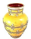 Oriental-Bavaria Keramik-Vase mit Silberverzierung Gelb