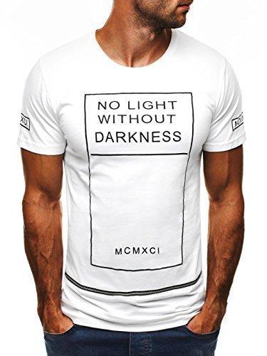 OZONEE Herren T-Shirt mit Motiv Kurzarm Rundhals Figurbetont BLACK WHITE 1073 Weiß