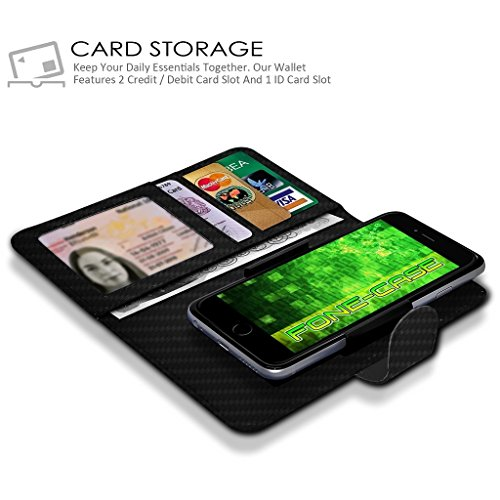White Apple Iphone 6 / Iphone 6s Case Clamp Style de protection en cuir PU Cover Par Fone-Case Carbon Fibre Universal Clamp Wallet