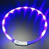 LED Hunde Halsband Aufladbar, LaiXin Silikon Halsband Hund Leuchtend USB-Laden Wasserdichte Halsbänder LED für Groß Hund, Blau, 70cm