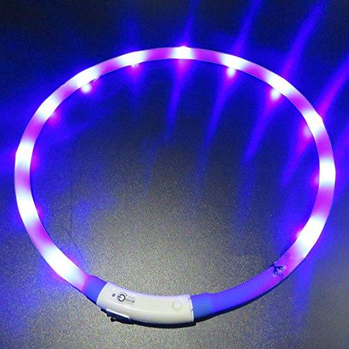 ufladbar, LaiXin Silikon Halsband Hund Leuchtend USB-Laden Wasserdichte Halsbänder LED für Groß Hund, Blau, 70cm (Der Hund Beagle Kind Kostüm)