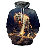 DFWY 3D Hoodies Men/Women Sweatshirts 3D Print Fire Tiger Thin Hooded Hoodies Cool Hoody Tops,XXXXL