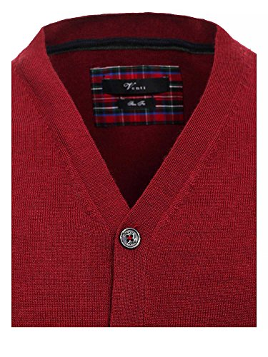 Venti Herren Strickjacke Slim Fit Bordeaux