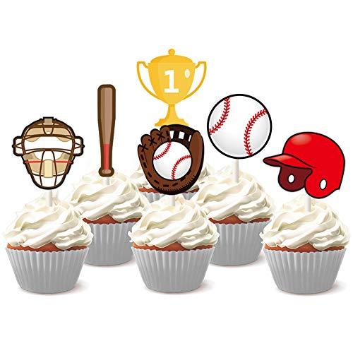 KREATWOW 24 Baseball Cupcake Toppers Dekoration für Kuchen Cupcake EIS-Lieferungen für Baseball Sport Motto Party oder Jungen Geburtstag