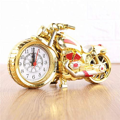 gfjfd Motorrad-Modell Wecker Kunststoff Uhr Mode Persönlichkeit Display Tischuhr Wecker Kreative Lokale Gold-Malerei