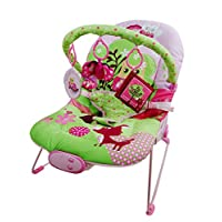 Just4baby Pink/Green OWL Musical Melodies Soothing Vibration Baby Bouncer Bouncing Rocker Reclining Chair with 3 Hanging Toys