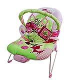 just4baby Pink/Grün Eule Musical Melodien Beruhigende Vibration Baby Bouncer Bouncing Rocker Liegestuhl mit 3hängende Spielzeuge