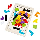Buself Tetris Holzpuzzle Spielzeug ab 3 Jahren Jungen Tetris Tangram