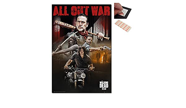 The Walking Dead Season 8 Collage Poster 2 Items and a Set of 4 Repositionable Adhesive Pads For Easy Wall Fixing 91.5 x 61cms Bundle 36 x 24 Inches