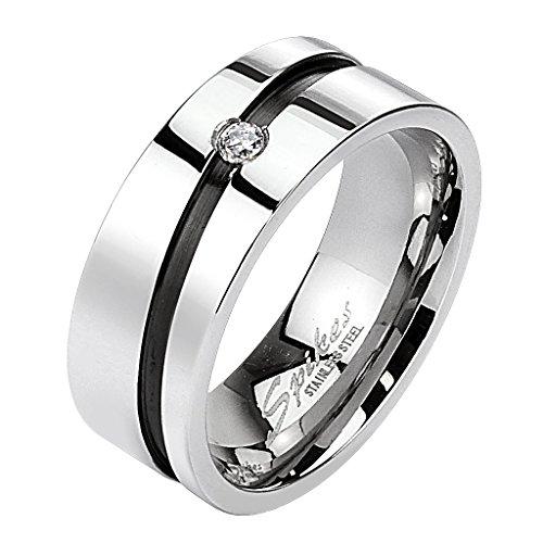 Mianova Band-Ring Edelstahl mit Zirkonia Kristall Herrenring Damenring Partnerring Damen Herren Silber Schwarz Größe 54 (17.2) Breit 6mm - Silber Breites Band-ringe