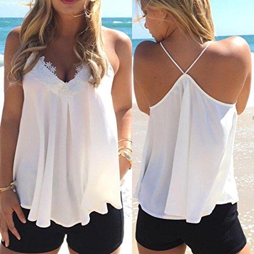 OverDose Damen Lace Chiffon Vest Top Sleeveless Casual Tank Blouse Summer Tops T-Shirt Spitze Weste Sommer Blusen (S, Z-Weiß) - 3