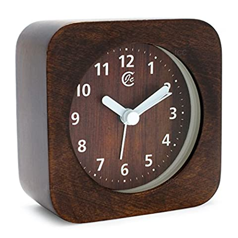 JCC Arabic Numerals Square Nature Wooden Non Ticking Sweep Analog Quartz Bedside Desk Alarm Clock with Ascending Louder Alarm, Snooze and Night Light Feature, Battery Operated (Brown