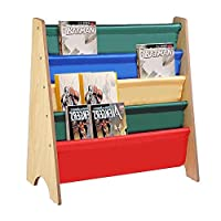 Keinode Bookcase Wooden Kids Book Shelf Sling Storage Rack Organizer Bookcase Display