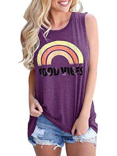 Pxmoda Damen Sommer Grafik Regenbogen Tank Tops Nette Gute Vibes Lose Ärmellose Cami T-Shirts (Violett, Medium) - Damen Grafik Tees