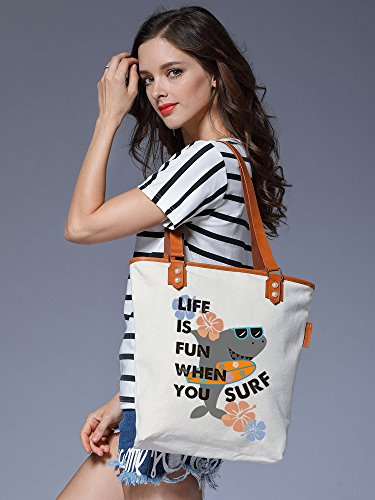 Shoulder Bag S Handbag Canvas Vacation Womens Tote Shark Beige Leather Ladies CHU v0qzrwv