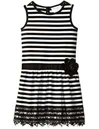 Us Angels Little Girls' Striped Ponte Tank Dress with Ribbon Belt and Lace Trim