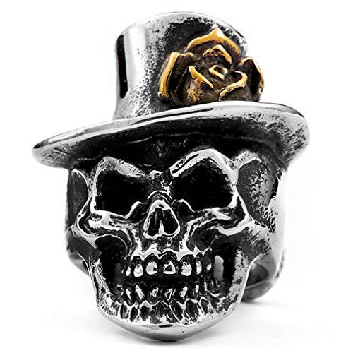 Clown Kostüm Gothic - XNCBM Schmuck Edelstahlmens Gothic Ringe Silber Black Devil Schädel mit Clown Hut Punk Biker Ringe