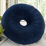 PANGUN 40 cm Anello Ciambella Memory Schiuma Lavabile Cuscino Pali Coccige Dolore Sollievo Cuscino-Blu Scuro