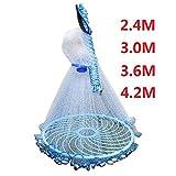 Ruixf Appâts de pêche Cast Net 2.4m-5.4m Main en Eau salée Lancer Filet de pêche...