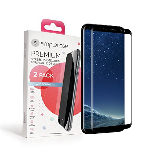 Simplecase Gebogener / Curved Premium Displayschutz Größe: Samsung Galaxy S8 aus 9H Panzerglas/ Echtglas/ Verbundglas - Deckt Das Ganze Display Ab - Schwarz - 1 Stück (Glas Screen Protector Mini S3)
