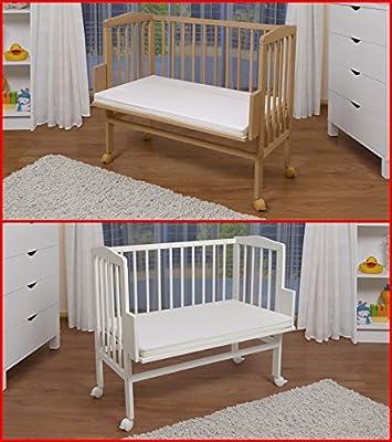 WALDIN Cuna colecho para bebé, cuna para bebé, altura regulable, natural sin tratamientos o lacado en blanco