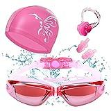 HICYCT set per il nuoto con occhialini, clip per il naso, tappi per le orecchie, custodia, di alta qualità, occhialini con tappi per le orecchie, antiappannamento, protezione UV.(pink)