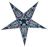 Guru-Shop Faltbarer Advents Leucht Papierstern, Weihnachtsstern Galadriel - Blau, 60x60x20 cm, Star Fensterdeko, 5 Spitzen