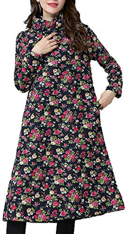 NIAIS Vestito Lungo da Donna Abito Lungo A Cotone Maniche Lunghe in Cotone  A Lungo A b1456dedc88