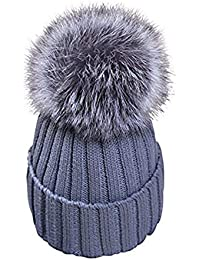 feifanshop Damen Mütze Strickmütze mit Fellbommel Fuchspelz Groß Fell Pelz  Bommel Strick Mütze Winter-Mütze b584f117da