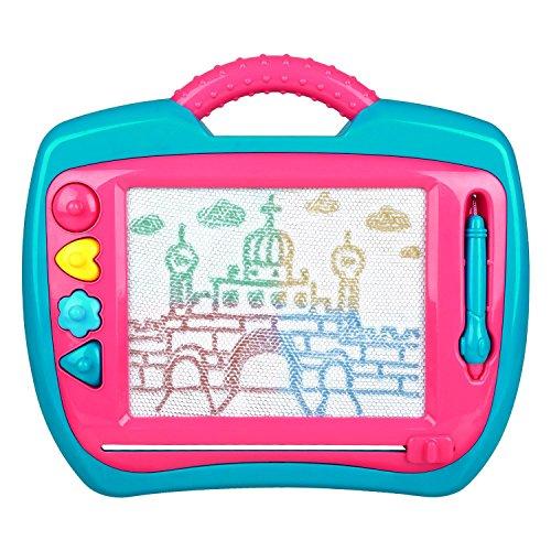 Peradix Zaubertafel Maltafel Magnetmaltafel Magnetische Zaubermaltafel Kinder mit Stift und 4 Stempel Löschbar 35*30cm für Kinder ab 3 Jahre