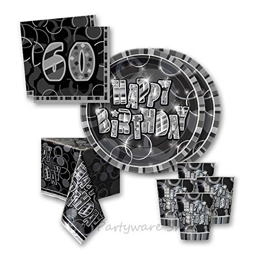 Black Glitz 60th Birthday Party Tableware Pack for 16 by The Partyware Shop