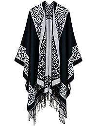 Idopy Patrón de moda de las señoras punto invierno cálido Poncho Cape Shawl con borla