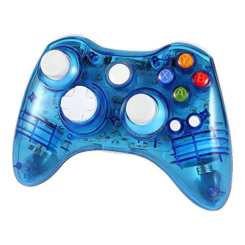 Wetoph XBOX 360 Wireless Controller, GD02 Nachleuchten PC-Controller Transparente Gamepad mit 8 LED-Leuchten Unterstützung Xbox 360 und PC (Windows XP/7/8/10) - Controller 360 Blau Led Xbox