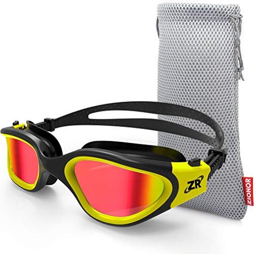 ZIONOR Schwimmbrille für Herren und Damen, G1 Polarisiert Schwimmbrille mit Spiegel/Rauch Linse UV-Schutz Anti Nebel Verstellbar Gurt Komfort Profi Schwimmbrillen für Erwachsene Jugendliche Unisex
