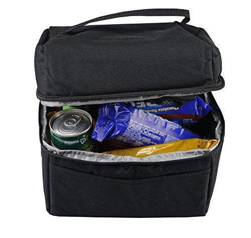 Borsa termica ,borsa da picnic impermeabile da der&dies per il pranzo, gli snack,la frutta picnic, campeggio,lavoro scuola escursioni e ufficio(19x20x14cm/5l)(nero)