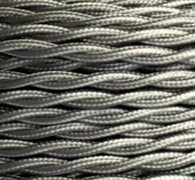 Textilkabel, Stoffkabel, Lampen Kabel Strom, 3-adrig, 3x0,75mm², GWH-Silber von Globe Warehouse - Lampenhans.de
