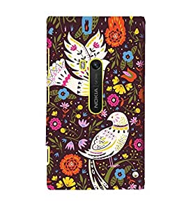 Fuson Designer Back Case Cover for Nokia Lumia 920 :: Micosoft Lumia 920 (Pigeon White Pigeon Flowers Leaves pink Flowers)