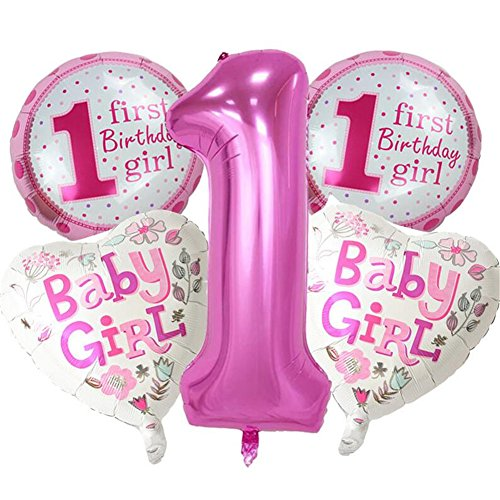 5pcs/set Happy Birthday Dekoration Aufblasbar Helium Folie Ballons, Baby Mädchen Jungen 1. Geburtstag Party Luftballons Set Supplies, Party Dusche Foto Requisiten Pink Blau Zahl rund Herz - Birthday 1 Mädchen Party Supplies