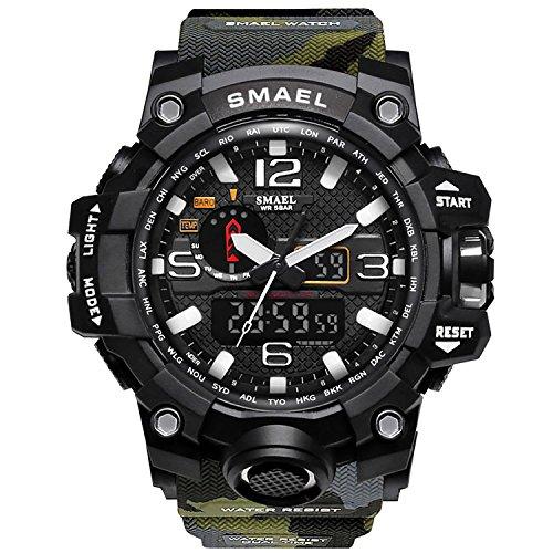 Herren Digitale Uhren, Sport Laufen wasserdichte militärische Armbanduhr Fashion Men LCD Digital Stoppuhr Herren-Military Green-WCH1545-MGR