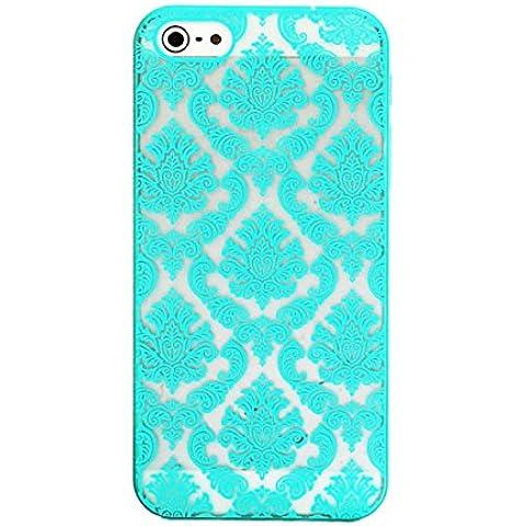 Tongshi Para el iPhone 5 5s Tallado del damasco de la vendimia Mate cubierta del estuche rígido (azul)
