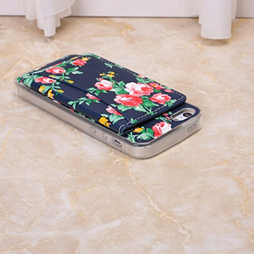 Petit Fleurs fraîches Conception durable antichoc avec Fold clip Case Slot pour carte stand Case Wallet pour iPhone SE 5S S ( Color : 10 , Size : IPhone SE 5S ) 2