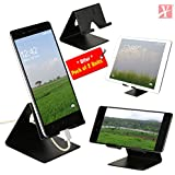 YT Mobile Phone Metal Stand/Holder for Smartphones and Tablet - Black Matt - Pack of 2 Units (Proudly Made in India)